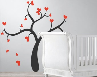 Tree Wall Sticker With 20 Hearts, Nursery Wall Decal Sticker, Tree Wall Art, Childrens Home Decor Christmas Gift