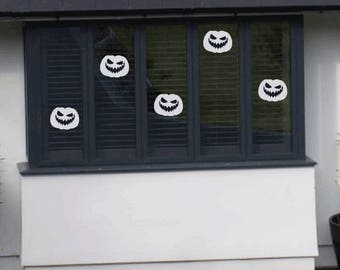 Pack Of 5 Halloween Pumpkin Window Stickers