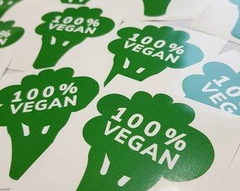 100% Vegan Broccoli Laptop Sticker