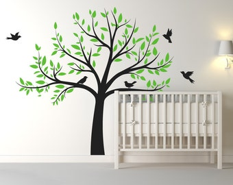 Large Nursery Tree Wall Decal With Flying Birds/Tree Wall Art Decal/Stickers For Children - Home Decor - Includes Over 100 Leaves
