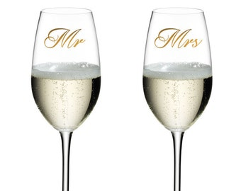 Mr Mrs Wedding Glass Decal, Table, Decoration Sticker Gift Christmas Gift