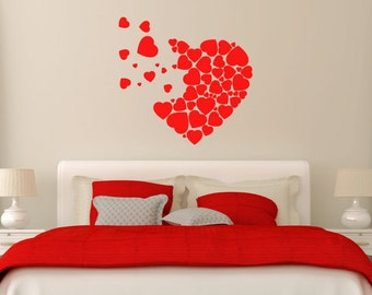 Floating Hearts Wall Art Decal/Wall Sticker - Vinyl Love Hearts, Bedroom, Home Decor Christmas Gift