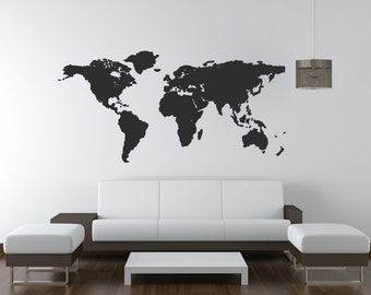 World Map Wall Art Decal/Wall Sticker - With 20 Pin Points - For Office & Home Decor Christmas Gift