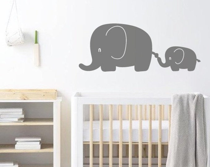 Featured listing image: Elephant Nursery Wall Decal, Wall Art Sticker/Decor For Childrens Bedroom - Animal Wallpaper Christmas Gift