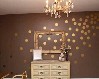 100 Gold Metallic Polka Dot Wall Decals