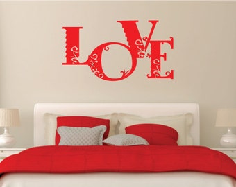 Love Wall Sticker Vinyl Decal Floral/Flower Design For Home Decor UK. *FREE P&P!* Christmas Gift