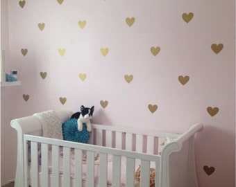 100 Gold Hearts Wall Stickers