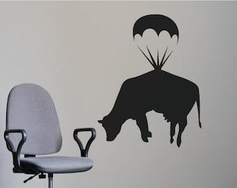 Banksy Wall Art Decal/Wall Sticker - Flying Cow Parachute, Street Art, Home Decor Christmas Gift