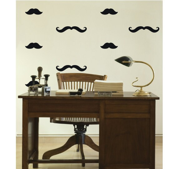 40 Mixed Mustache Wall Stickers Decals - Vinyl Wall Art Decoration ...