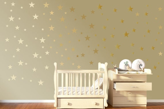 120 gold star wall stickers gold wall decals star wall decals | etsy