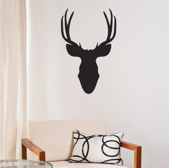 moose head wall decal sticker - vinyl wall art decoration design for