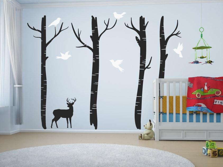 large nursery tree wall decals with deer & birds/tree wall art decal