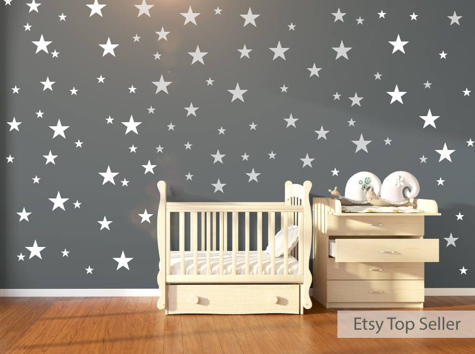 120 white stars wall stickers
