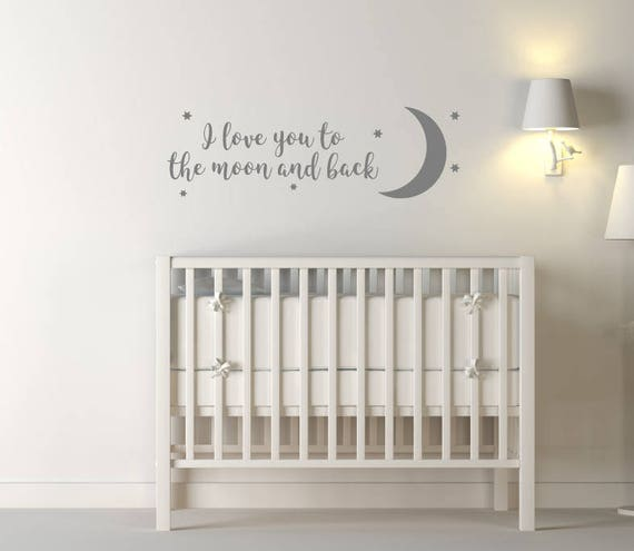 i love you to the moon and back wall sticker quote nursery | etsy