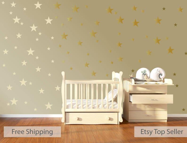 Babykamer Behang Sterren : 120 gouden metalen sterren kwekerij muur stickers kinderkamer etsy