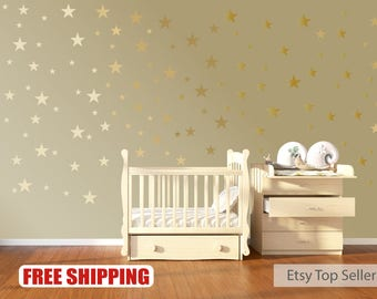 120 Gold Stars Nursery Wall Decals