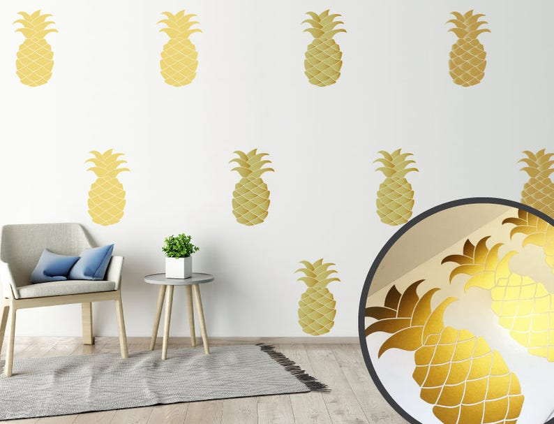 pineapple wall decals pineapple wall decals gold stickers wall | etsy