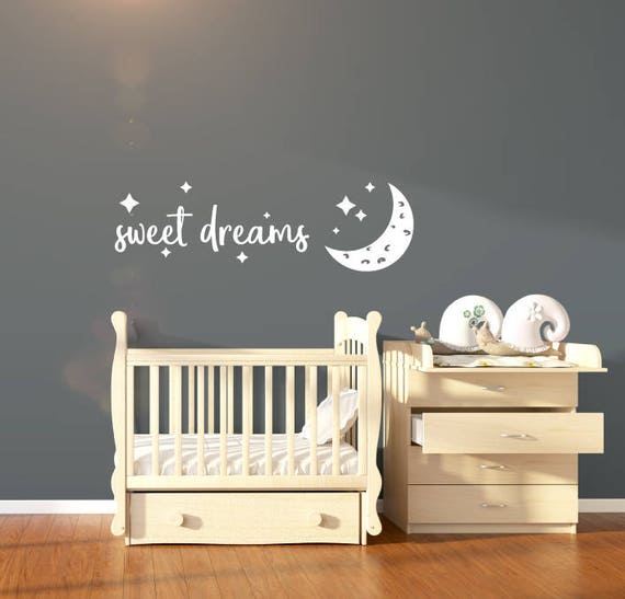 nursery wall sticker quote sweet dreams nursery wall decal | etsy