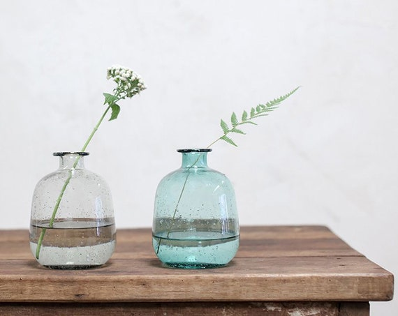 Fairtrade bohemian vase eco decor venue decoration eco giftware bottle vase wedding decoration eco partyware centrepiece teal or smoke grey
