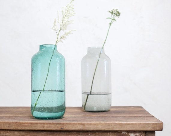 Fairtrade bohemian vase eco decor venue decoration eco giftware large vase wedding decoration eco partyware centrepiece teal and smoke grey