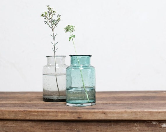 Fairtrade bohemian vase eco decor venue decoration eco giftware jar vase wedding decoration eco partyware centrepiece teal and smoke grey