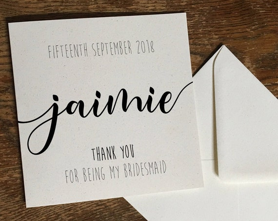 Personalised wedding thank you card, custom wedding thank you, bespoke thank you card, eco thank you card, simple wedding thank you card