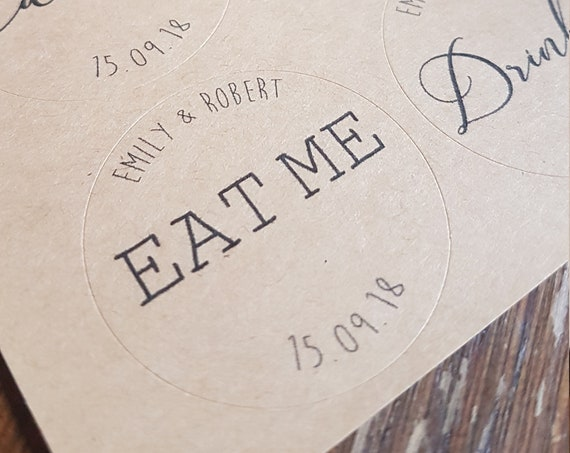 Eco friendly custom sticker pack of 24, eat me, drink me, throw me circular stickers 35mm diameter, round personalised label, favour sticker