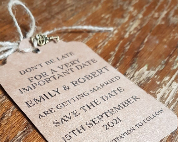 Save the date tag, Alice in wonderland save the date,