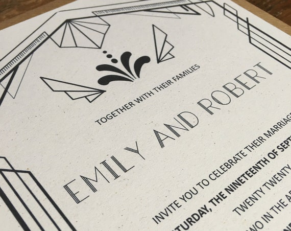 Eco friendly A5 wedding invitations made from recycled card complete with Kraft envelopes 10 pack, Art Deco wedding invite GATSBY