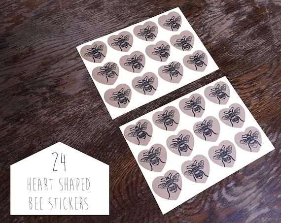 Bee sticker 24 heart shaped brown Kraft paper stickers hand printed