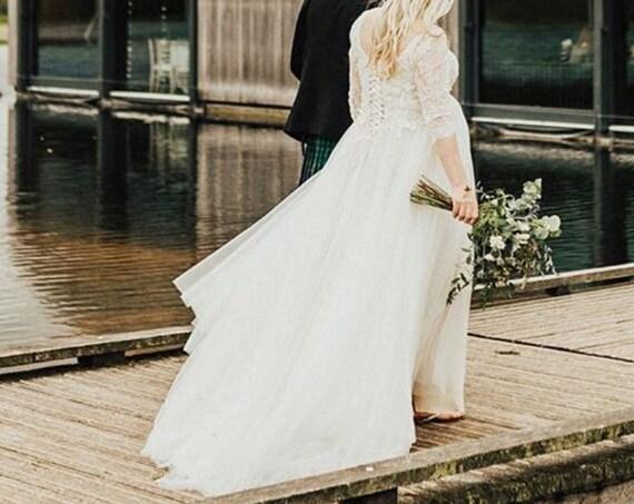 Maternity wedding dress, preloved wedding dress, BHLDN Amelie dress for sale, maternity wedding gown, bohemian floral layered wedding dress