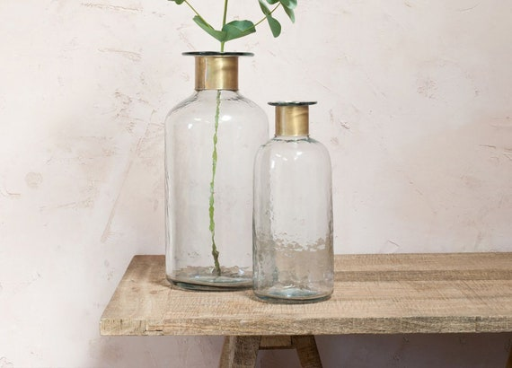Fairtrade bohemian vase eco decor venue decoration eco giftware hammered bottle vase wedding decoration eco partyware centrepiece two sizes