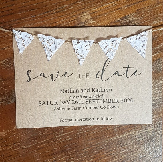 Bunting save the date, A6 design your own save the date, vintage bunting save the date, Recycled save the date, Eco save the date cards
