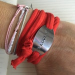 Limited Edition cordonByLn LOVE Valentine's day, bracelet personalized stamped jewelry handmade cord color choice