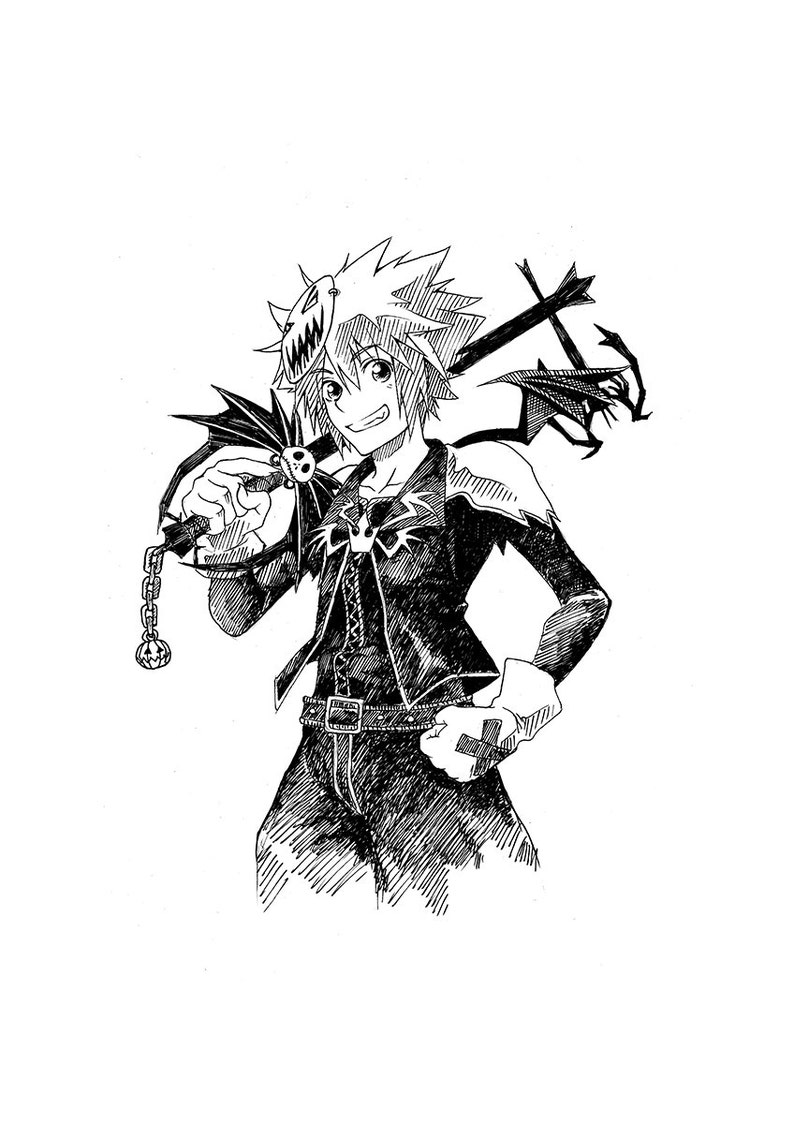 Kingdom Hearts Sora Halloween Town Costume.Halloween Town Sora Kingdom Hearts Ink Drawing Original