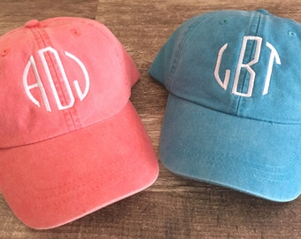 Monogrammed Baseball Hat - Monogrammed Baseball Cap - Bridesmaid Gift - Initial  Hat - Gift Idea Under 20 - Monogram Washed Cap-Leather Strap bae0fc0a42a8
