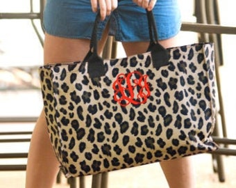 Personalized Monogrammed Embroidered Animal Print Fur Tassel Crossbody Clutch