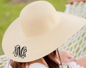 1d7975bb71e40a Monogrammed Floppy Hat - Bridesmaid Gift - Monogrammed Sun Hat - Gift Idea  Under 25 - Honeymoon - Monogrammed Beach Hat - Derby Hat