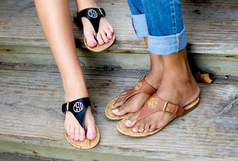 5448bccc604b8 Monogrammed Sandals - Black and Brown - Summer Sandals - Monogrammed Flip  Flops - Ladies Shoes