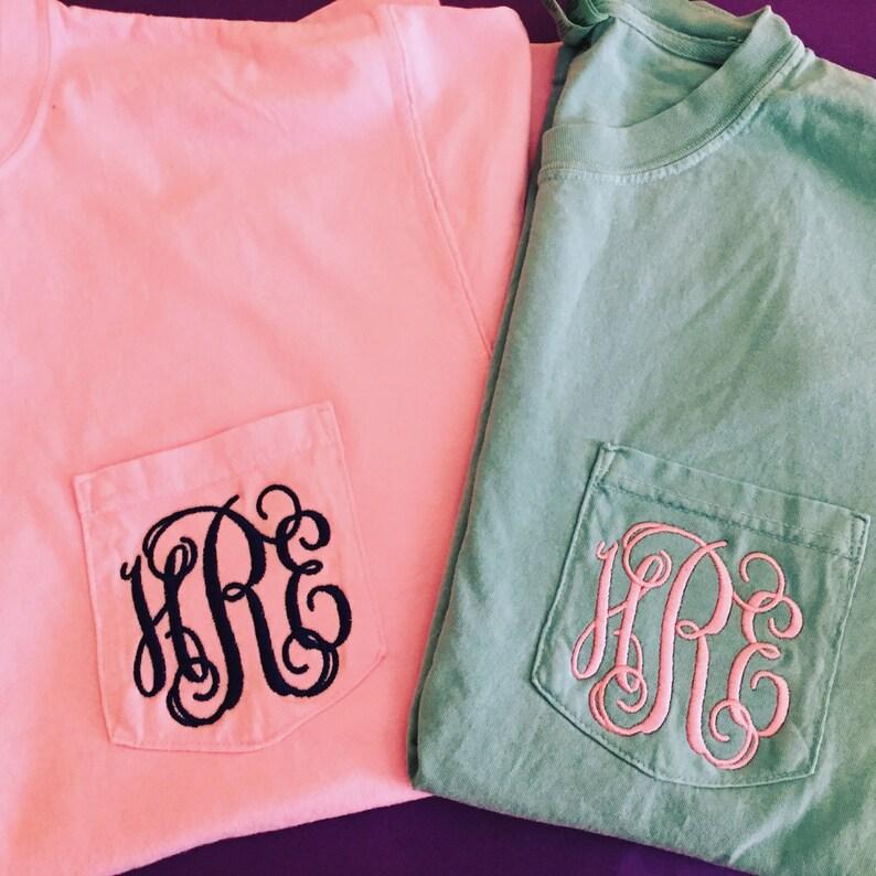 Monogrammed Comfort Colors Short Sleeve Pocket T-Shirt  image 0