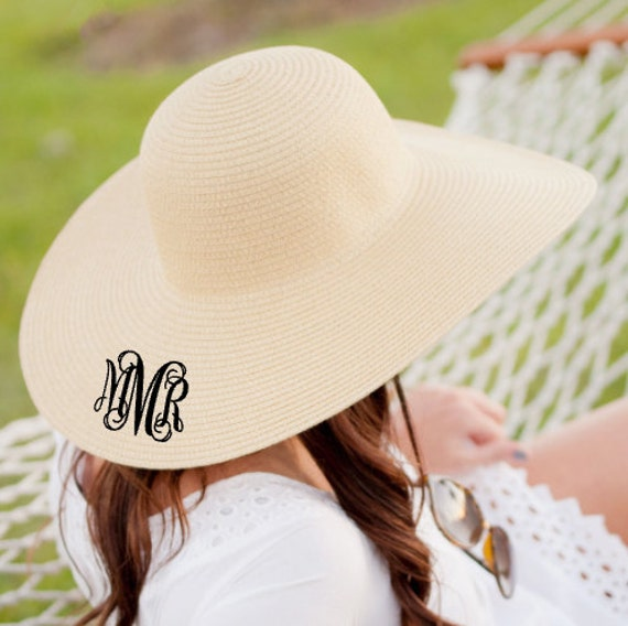 adcf1cc5494 Monogrammed Floppy Hat Bridesmaid Gift Monogrammed Sun Hat