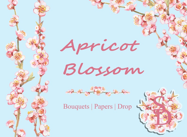 photograph about Watercolor Floral Border Paper Printable named Apricot blossom corner Purple spring flower clipart Printable wreath PNG Electronic border Floral drops Seamless paper Handpainted watercolor
