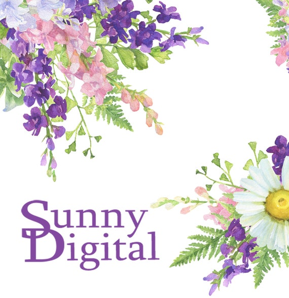 Summer birthday spray Daisy page border PNG Watercolor clipart Digital  corner Floral image Printable wedding decor Flower image download