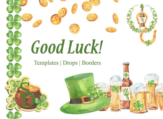 Lucky Template St Patricks Day Diy Clover Drops Horse Shoe Etsy