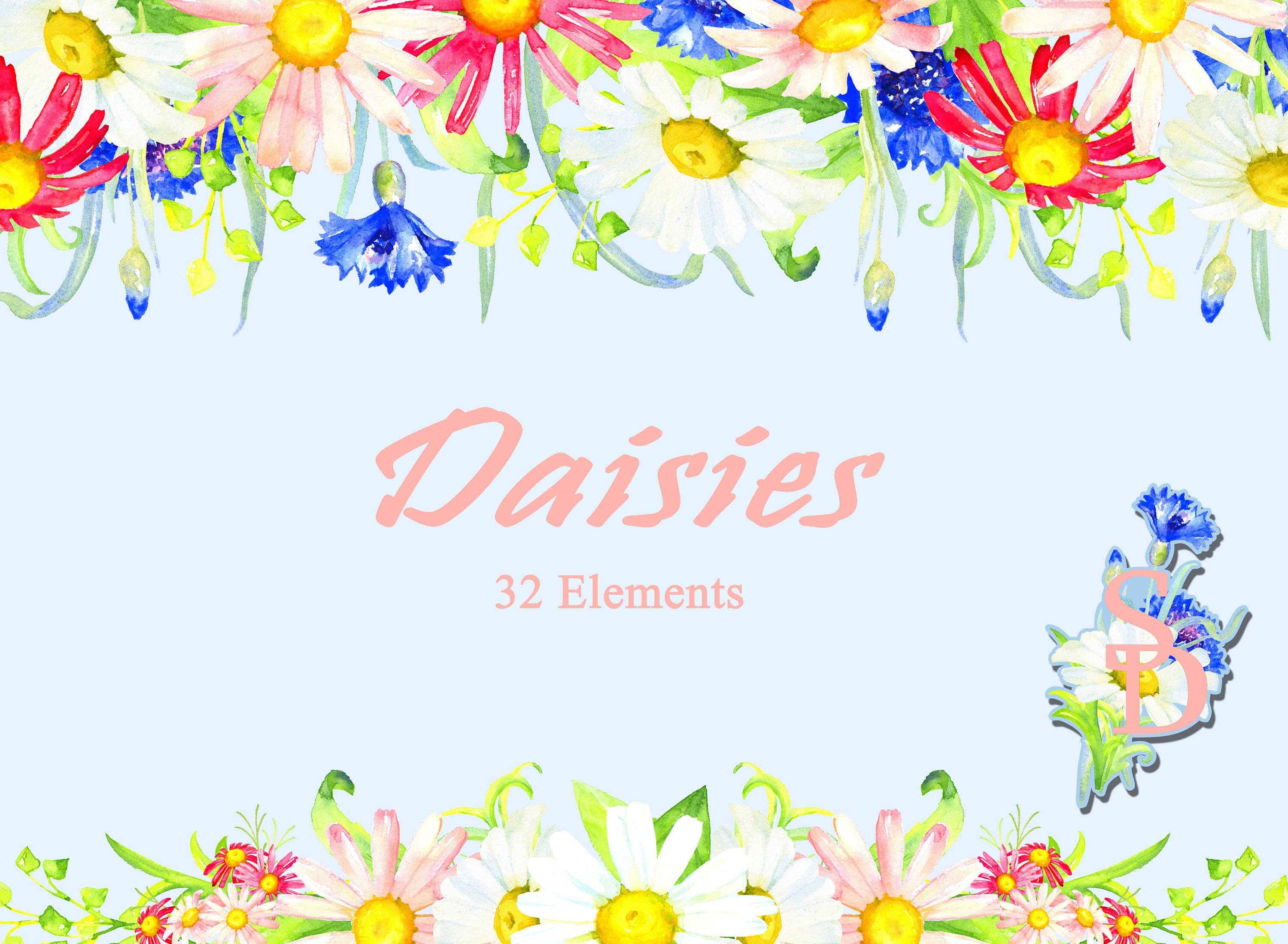 Daisies flowers 32 elements watercolor clipart hand painted etsy zoom izmirmasajfo