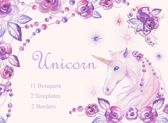 Unicorn frame Handpainted horse Digital sparkle PNG Printable | Etsy