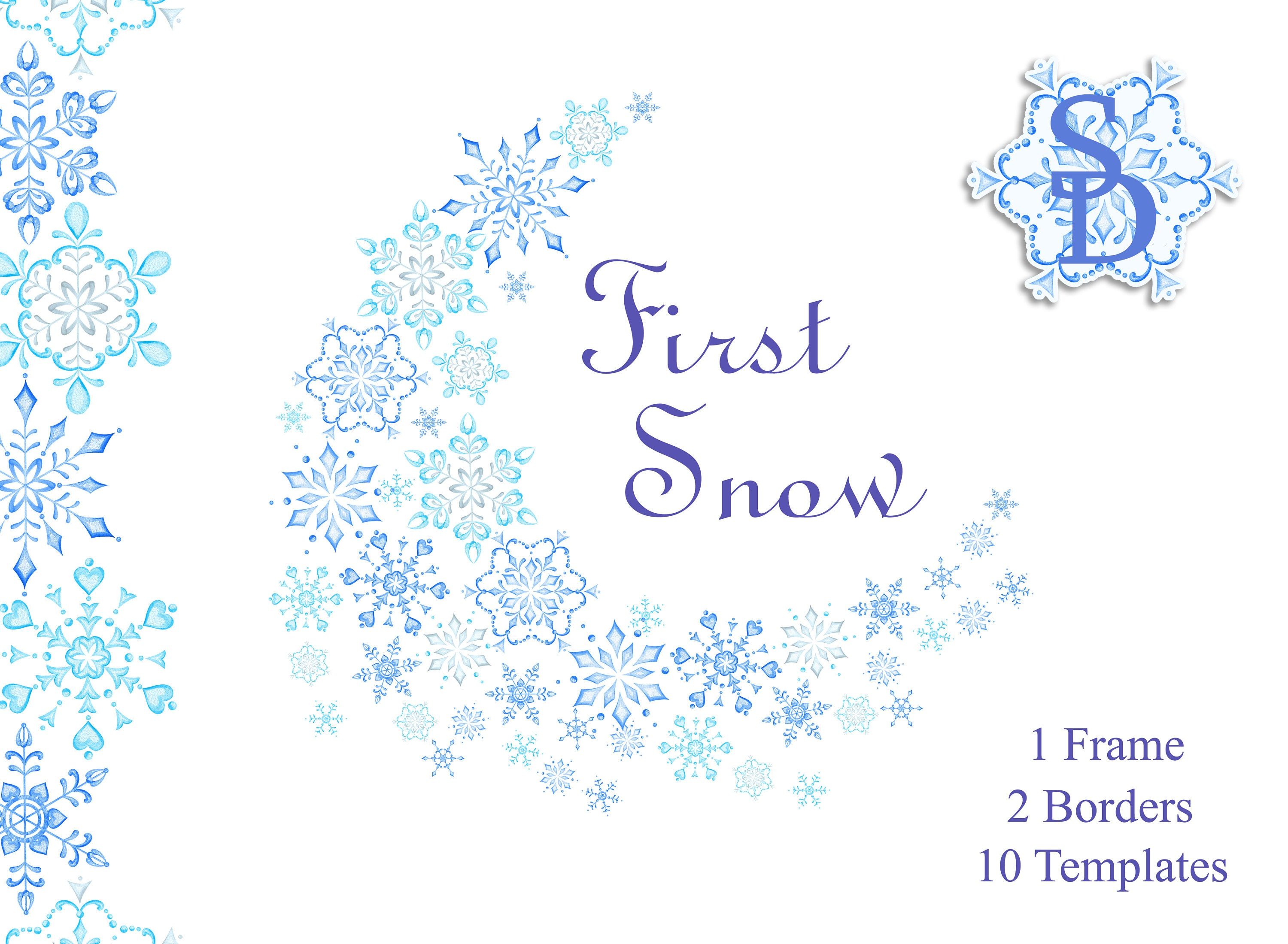 blue snowflakes frame winter clipart border template