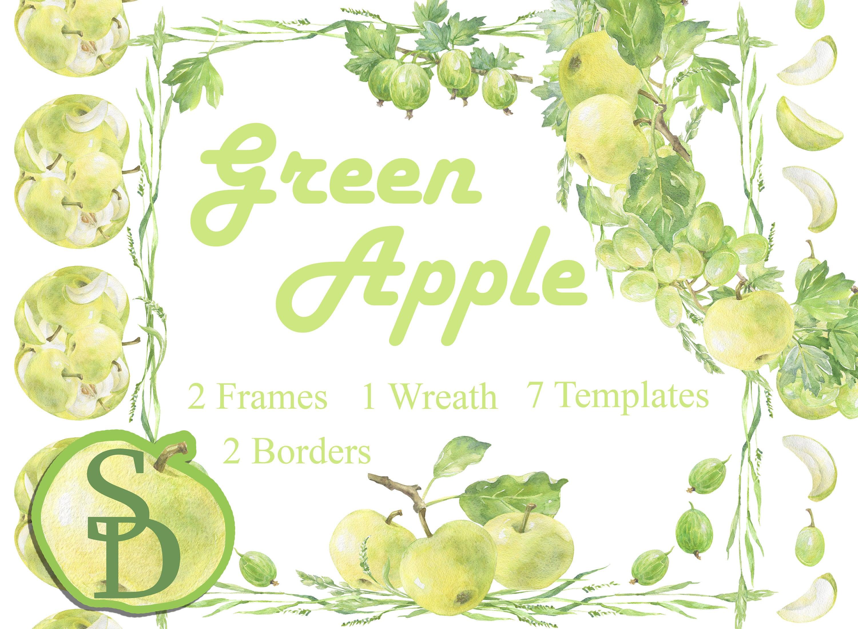 Grüner Apfel Ecke Kranz wiederholbar Grenze Vorlage   Etsy