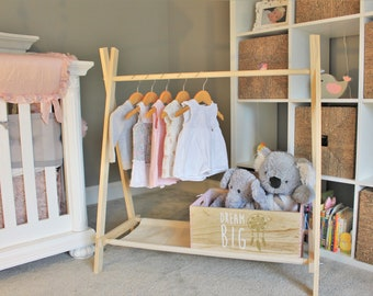Clothing Rack, Nursery Decor, Dress Up Station, Kids Clothing Storage, Rack with Canvas Storage Shelf, 40 inches tall x 38 inches long