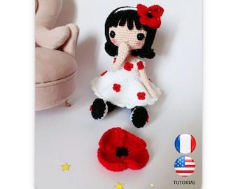 Loli la fille aux coquelicots - Poupée au crochet - Crochet Doll - Patron au crochet - Fichier PDF - Explications FR/US- Amigurumi